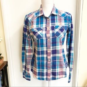 AEO Womens Plaid Flannel Long Sleeve Button Up Top